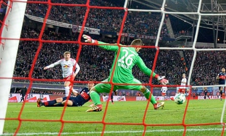 Timo Wener scores the winner past Bayern's Sven Ulreich.