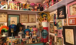 Exhibits, posters and wigs on display at The Beauty Bubble Salon and Museum. Joshua Tree, US.