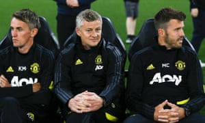 Ole Gunnar Solskjær (centre) has been given license to reconfigure his backroom staff