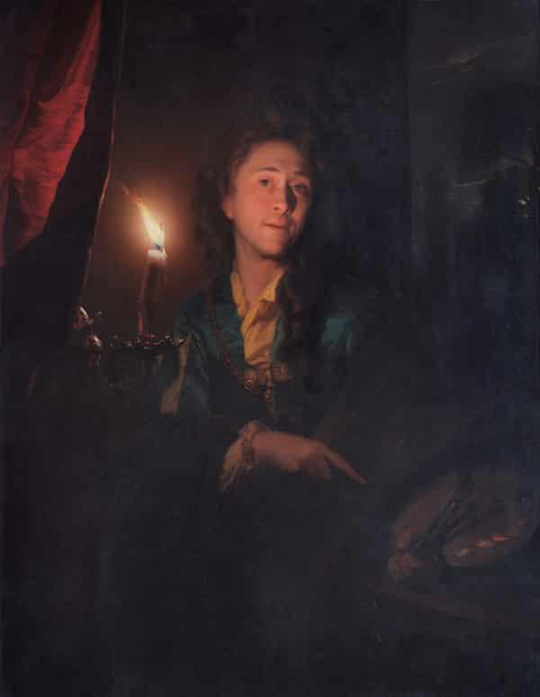 Self Portrait by Candlelight, 1695, Godfried Schalcken (1643–1706). H: 109.5cm W:88.5cm