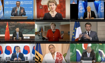 The WHO director general, Tedros Adhanom, and world leaders speak via video link to the World Health Assembly.