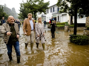 South Limburg, Netherlands: King Willem-Alexander and Queen Maxima inspect the damage caused by the storm in Valkenburg.