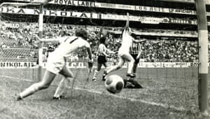Paula Rayner celebrates an England goal against Argentina at the 1971 Women's World Cup, however their joy was short lived as Argentina went on to win 4-1.