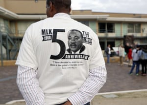 Gregory X wears a shirt commemorating the 50th anniversary of the death of King outside the National Civil Rights Museum.