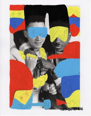 """The pop-friendly work of hip-hop duo Kid 'n Play was the perfect match for artist Todd James' playful painting. """"I started writing in 1982,"""" James says. """"The first time I wrote was before that in the staircase of my friends' building but I count the first trains I wrote on — the C train at Liberty Ave — as being my entry point in the winter of 1982. I had a few choices but Kid 'n Play had some sort of comedy element to them and I liked that."""""""