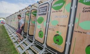The new compost toilets at Worthy Farm, Glastonbury.