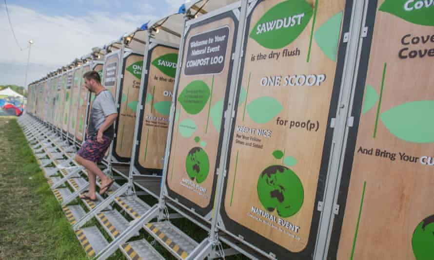 The new compost toilets at Worthy Farm, Glastonbury.