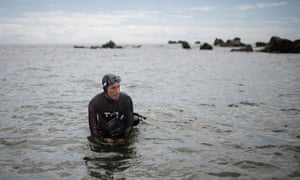French marathon swimmer Ben Lecomte at the start of his attempt to swim through the Pacific Ocean's garbage patch