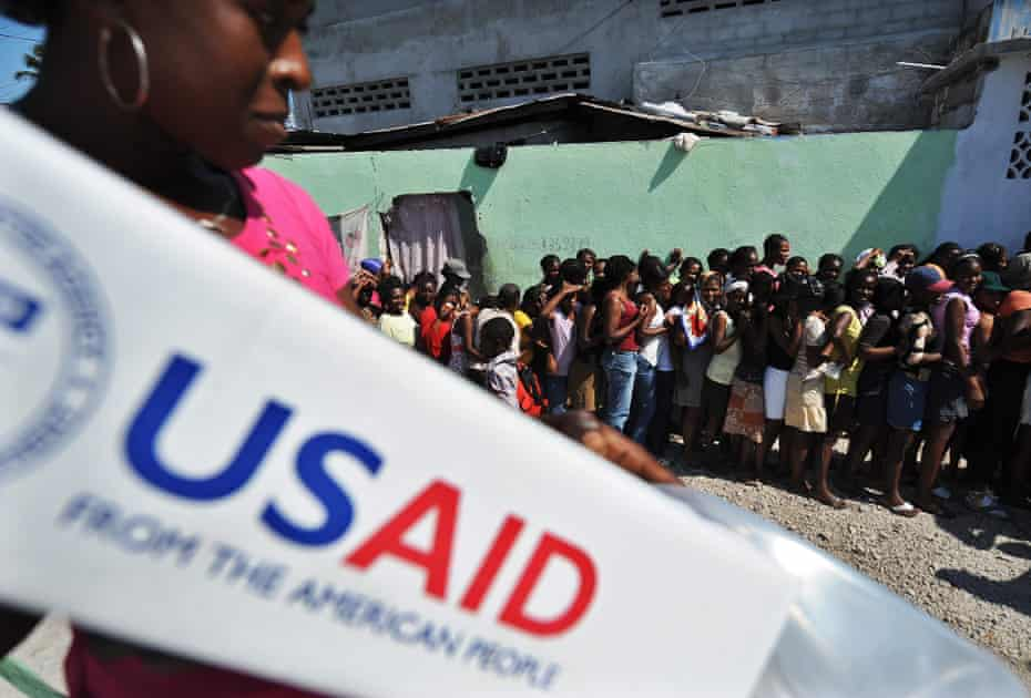 A USAid distribution point in Port-au-Prince after the 2010 earthquake.