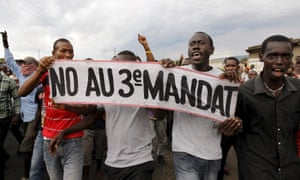 Protesters in Bujumbura, Burundi, hold a banner reading: 'No to a third term'