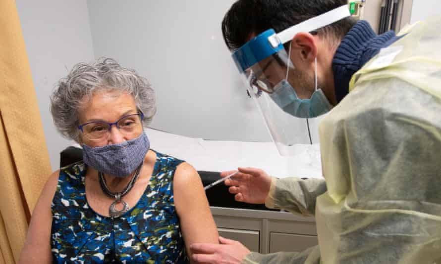 Retired nurse Donna Lessard takes part in the Medicago Covid-19 vaccine clinical trials in Mirabel, Canada