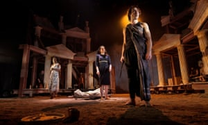 The IliadPicture shows : (l-r) Emanuella Cole , Melody Grove and Ben Turner (Achilles). The Iliad a the Lyceum By Chris Hannan Directed by Lyceum Artistic Director Mark Thomson 20 April – 14 May 2016