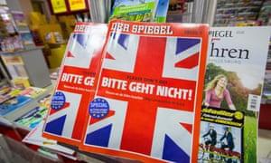 """Copies of German magazine Der Spiegel featuring the headline """"Please don't go!"""""""