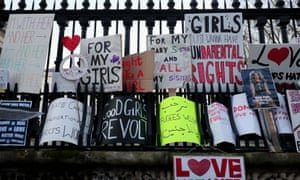 Protest banners at the Women's March in London this month.