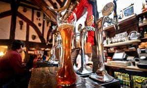Pint on the bar, in close up, at The House of Trembling Madness, York