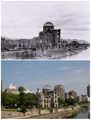 The gutted Hiroshima Prefectural Industrial Promotion Hall (C), which is currently called the Atomic Bomb Dome or A-Bomb Dome, after the bombing of Hiroshima on 6 August 6, 1945 and the same location near Aioi Bridge in Hiroshima in 2015
