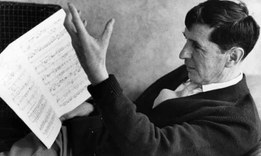 Handing it to the muses … Michael Tippett reading the score of his Second Piano Sonata.