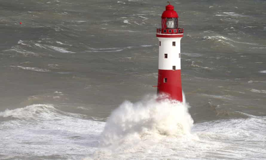 Storm warning ... Beachy Head lighthouse, East Sussex.