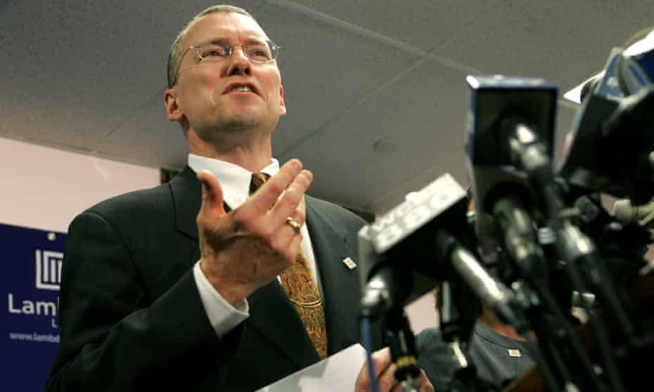 David Buckel at a news conference in Newark, New Jersey on 25 October 2005. 'He never lost sight of the fact that we were representing real people,' said Suzanne Goldberg, a former colleague.