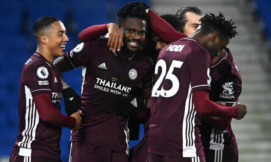 Leicester's Daniel Amartey celebrates his late winner against Brighton