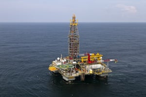 Photo taken on September 17, 2011 shows a Tullow Oil company offshore oil platform off the coasts of the French overseas department of Guiana. Anglo Dutch energy giant Shell announced on September 9, 2011 that it had discovered oil in deep waters around 150 kilometres (90 miles) off the coast of French Guiana following a joint venture drilling project with venture energy partners Total, Tullow and Northpet. AFP PHOTO / JODY AMIET (Photo credit should read JODY AMIET/AFP/Getty Images)