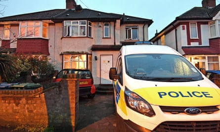 Police attend a house in Edgware, north London, on Sunday where one man aged 38 and another, 42, were found unresponsive after a possible carbon monoxide leak.