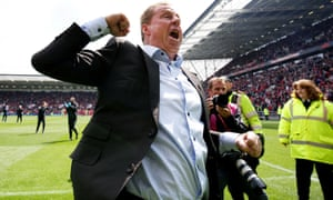 Harry Redknapp celebrates after seeing his Birmingham City side survive in the Championship.