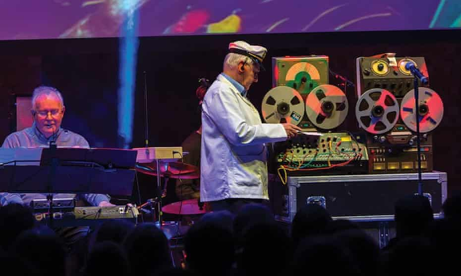 Members of the Radiophonic Workshop live in concert in 2016. Paddy Kingsland, left, and Dick Mills