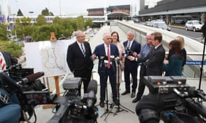 Scott Morrison, Malcolm Turnbull, Kelly O'Dwyer and Michael McCormack at a press conference at Melbourne airport