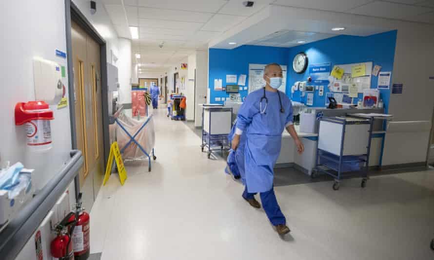 An NHS hospital ward is seen