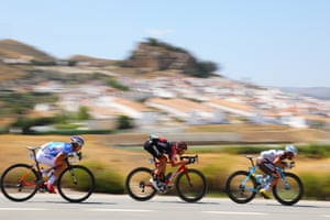 What goes up must come down. Alexis Gougeard, Alessandro De Marchi and Arnaud Courteille descend during Stage 13's 198,4km between Coin and Tomares