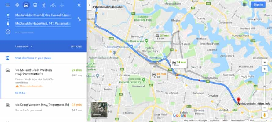 When set to 'leave now', Google Maps does not display a route including the WestConnex tunnel.