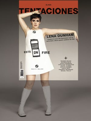 Tentaciones (Temptations), a monthly supplement with Spain's highest-circulation newspaper El País, features an image of Lena Dunham styled in an homage to the British model Twiggy.