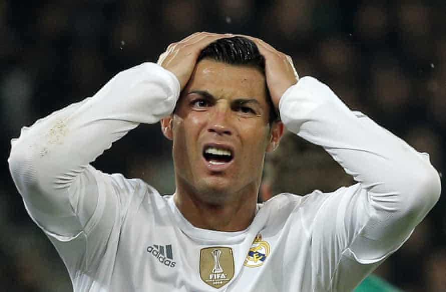 Real Madrid's Cristiano Ronaldo also had a go but got it all wrong.