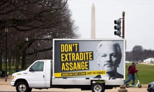 A sign on a truck with the image of WikiLeaks co-founder Julian Assange reads 'Don't Extradite Assange', in the national mall in Washington DC on Monday.