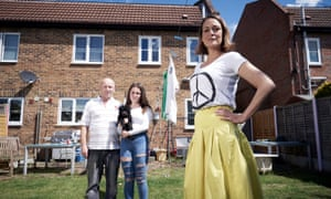 Remainer Kat Boettge with her temporary family Andy Edwards and Katie Hardy in Wife Swap: Brexit Special.