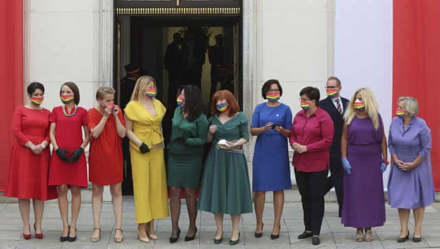Polish lawmakers dressed in rainbow colours to show support for the LGBT community, ahead of the swearing in ceremony of President Andrzej Duda for a second term