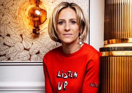 'You assume everyone knows how TV works,  but they don't. Why should they?': Emily Maitlis shot at The Marylebone Hotel. Styling by Kara Kyne. Hair and makeup by Laura Szydlowski using Charlotte Tilbury. Emily is wearing Listen Up Jumper by Bella Freud.