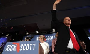 In the Senate race, Rick Scott leads by less than 0.25%.