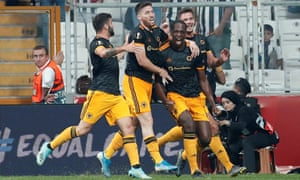 Wolverhampton Wanderers' Willy Boly celebrates scoring their first goal.