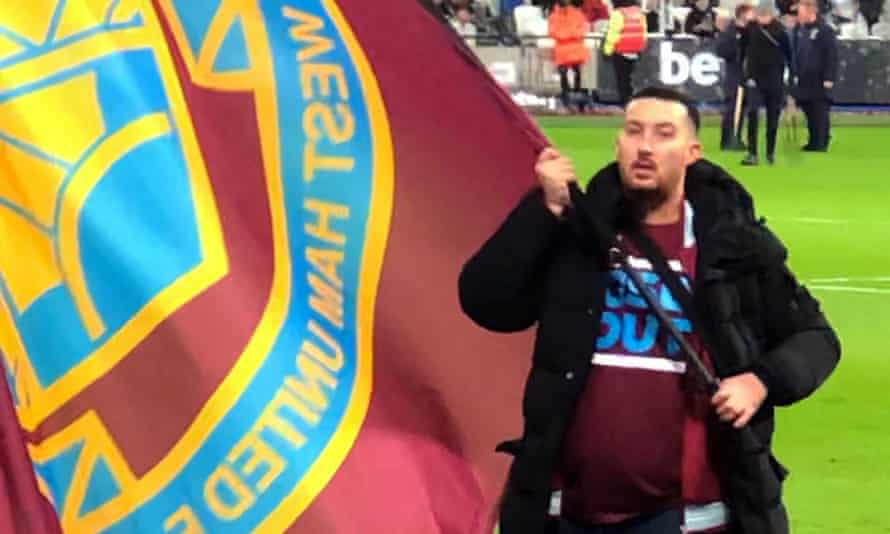Cameron Robson wearing a 'GSB OUT' T-shirt – a reference to West Ham's co-owners, David Gold and David Sullivan, and the vice-chair, Karren Brady.