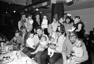 Birmingham City players and their children enjoy the club's 1970 Christmas party. In the back row are Garry Pendrey, Mike Kelly, Mick Darrell, Trevor Hockey while in the front row are John Sleeuwenhoek, Bobby Thomson, Dave Latchford and Johnny Vincent