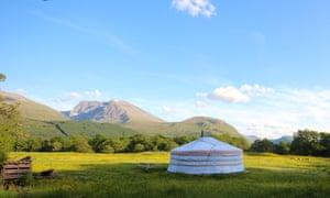 Great Glen Yurts, Nevis range, Scotland with hills in background