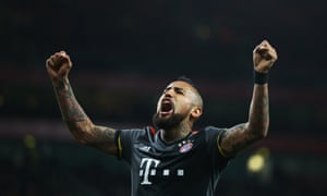 Arturo Vidal celebrates his second, and Bayern's fifth on the night.