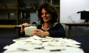 Dagmar Freist, a professor at Oldenburg University, looks through a mail bag from an American merchant ship that traded between New York and Bordeaux in 1812.
