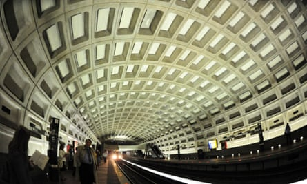 A Metrorail train pulls into the McPherson Square station in Washington DC.