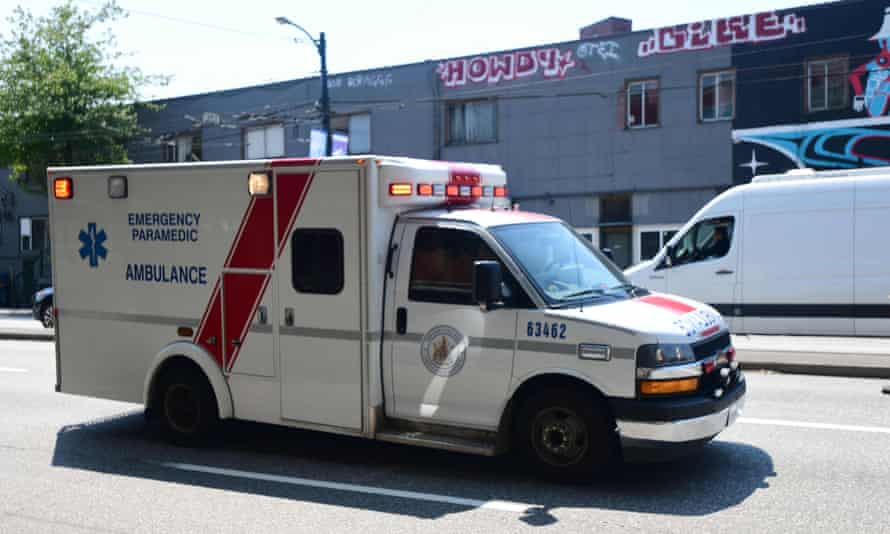 An ambulance is seen during the extreme heatwave in Vancouver, British Columbia, Canada, June 30, 2021.