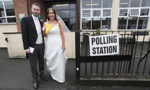Sorcha Eastwood casts her vote with her new husband, Dale Shirlow