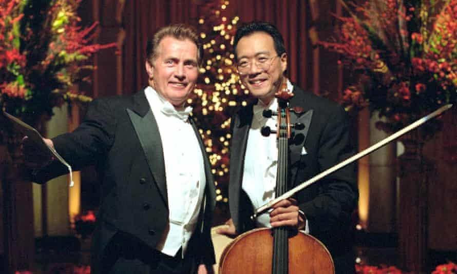 Ready for a tap dance … Martin Sheen, Yo-Yo Ma and the $6m cello.