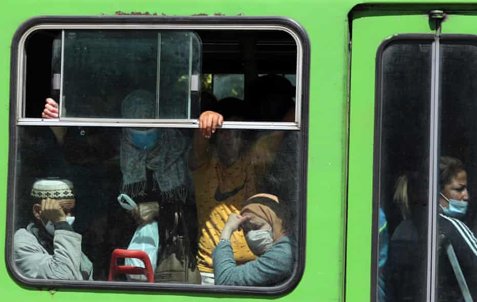 People in face masks on a bus in Tunis, Tunisia, on 7 May 2021
